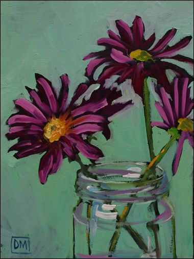paintings of flowers | ... bold, loosely brushed small paintings of flowers in simple glass jars