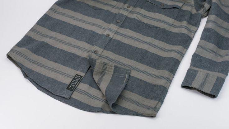 rvca grey blue stripe rosarito shirt flannel