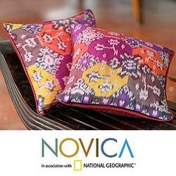 @Overstock - Cristin Carolin creates cushion covers in a kaleidoscope of fiery colors. The handcrafted cushion covers are woven on a traditional loom with the legendary 'ikat' technique and a firebrick red back.http://www.overstock.com/Worldstock-Fair-Trade/Set-of-Two-Cotton-Ubud-Fire-Cushion-Covers-Indonesia/6549673/product.html?CID=214117 $74.99