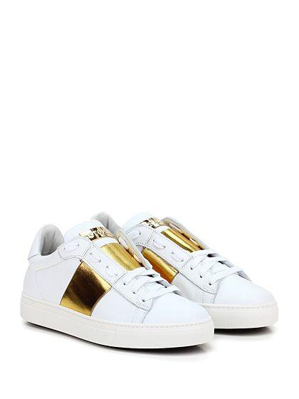 STOKTON - Sneakers - Donna - Sneaker in pelle e pelle laminata con fascia elasticizzata frontale e suola in gomma. Tacco 35. - BIANCO\ORO