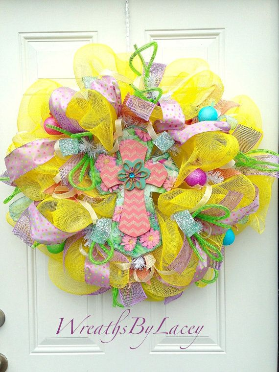 Easter deco mesh wreath spring wreath for door colorful for Colorful summer wreaths