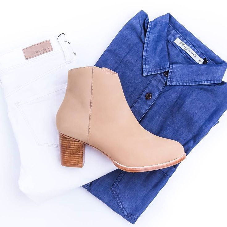 Light booties with white jeans and denimFt. Our taupe 'Macaw' boot.