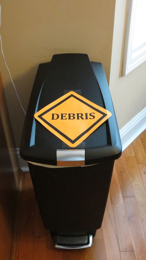 You can even label the trash cans to match your construction theme classroom decor!! :)