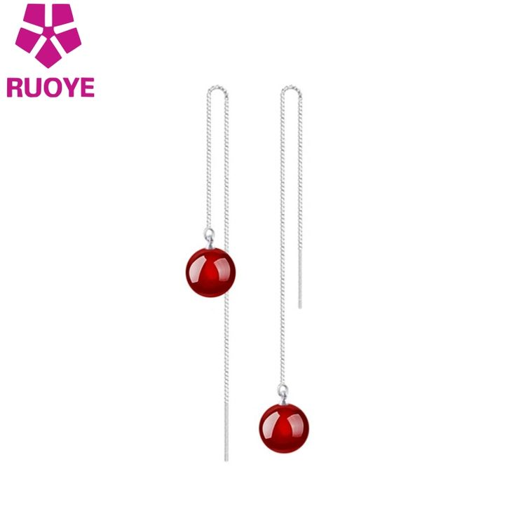 Fashion Black Red Agate Sexy Party Jewelry Earrings Female Models Ear Wire Long Earrings For Women Platinum plated link Jewelry