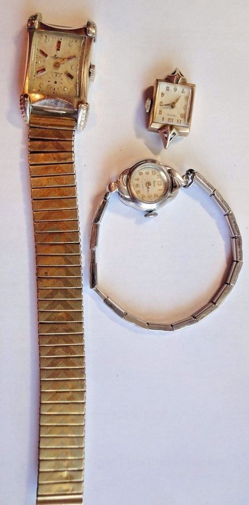 Wrist Watch Lot 22 Jewel G.F.Hamilton,17 Jewel Elco, 17 Jewel G.F. Mercury