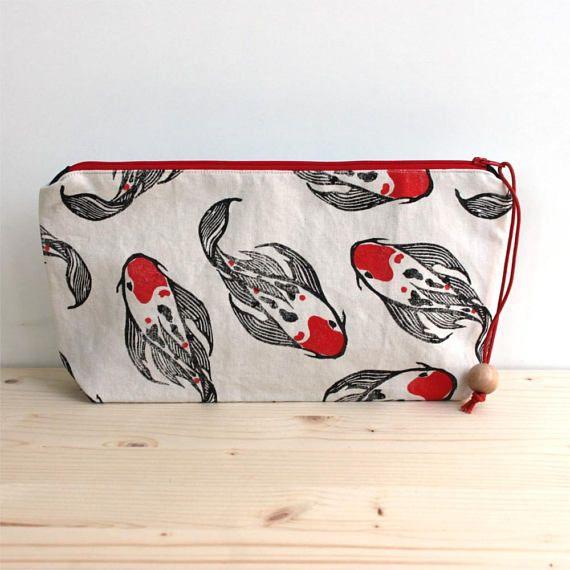 Koi Carp clutch bag large pencil case boho clutch block