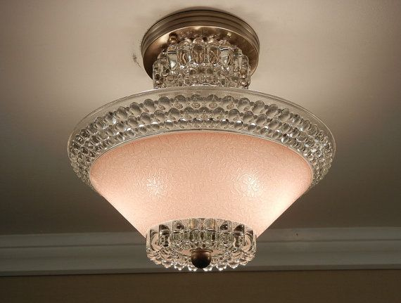 Vintage 1930's Art Deco Pink Hobnail Glass Antique Sem-Flush Ceiling Light Fixture Rewired
