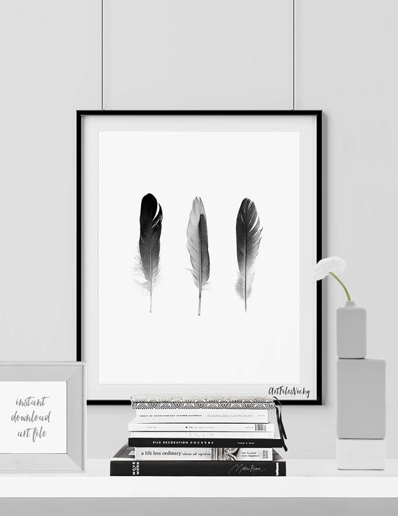 Feathers poster, Minimalist poster, feathers printable, Scandinavian art, Black & White, Home decor, Digital print wall art INSTANT DOWNLOAD. This