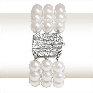 8x8.5mm AAA Quality Penelope Japanese Akoya Triple Strand Cultured Pearl Bracelet - 8 inches American Pearl. $5143.00