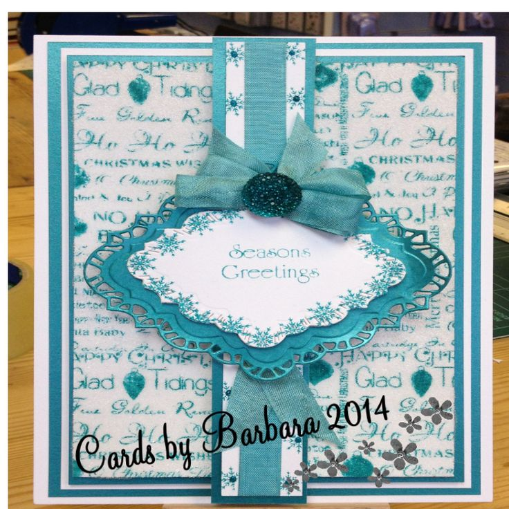 For this card I used Phills background stamp and added micro beads, a Christmas sentiment and bow and dazzler
