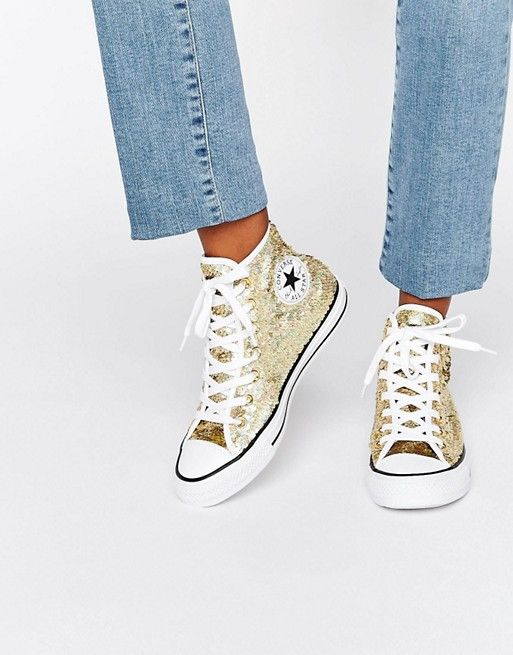 Converse   Zapatillas de deporte abotinadas con lentejuelas doradas Chuck Taylor de Converse