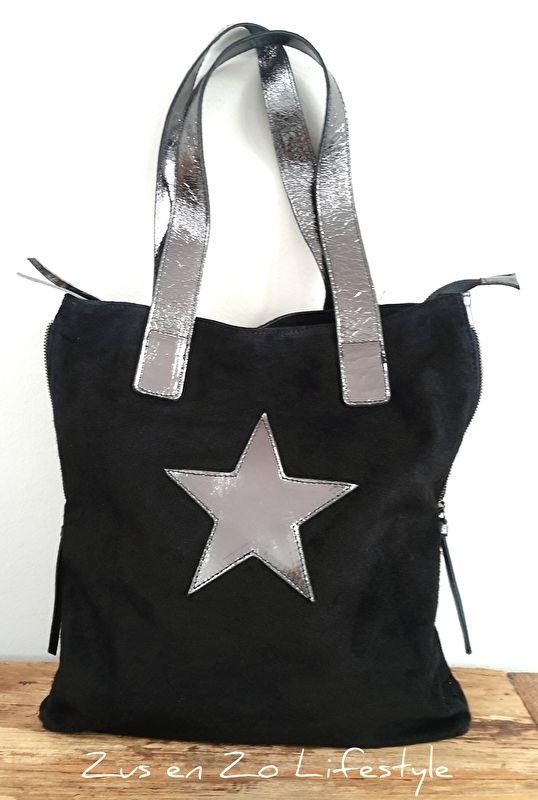 Grote tas / shopper zwart met ster