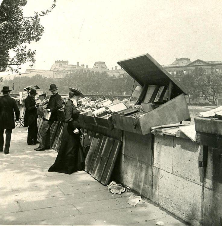 Book stalls on the Seine, Paris 1900s