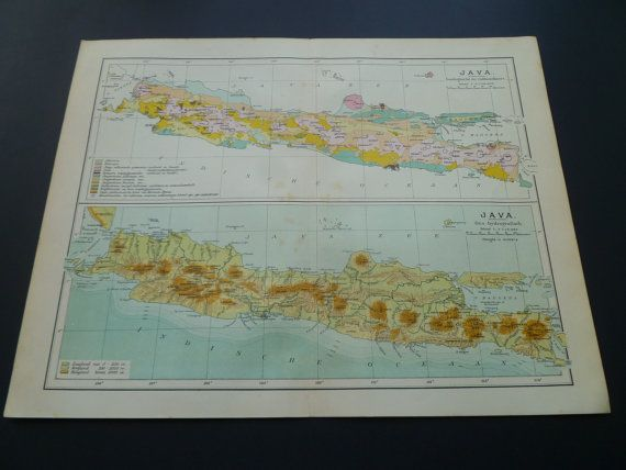 Old Dutch map of Java 1908 antique height and by DecorativePrints