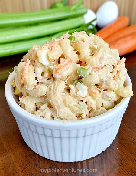 Hawaiian Style Loaded Tuna Macaroni Salad. A hearty macaroni pasta salad that can be eaten as a snack or side dish.