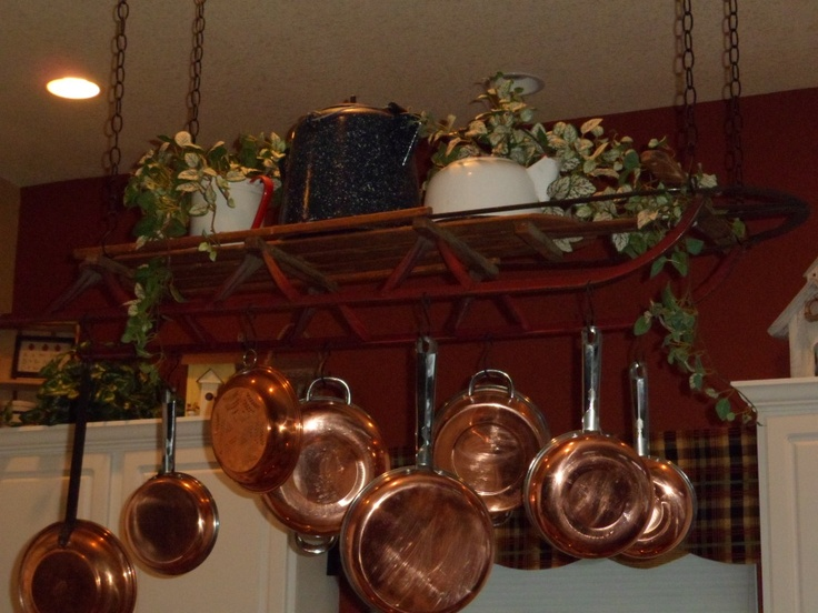 Antique sled as a pot rack