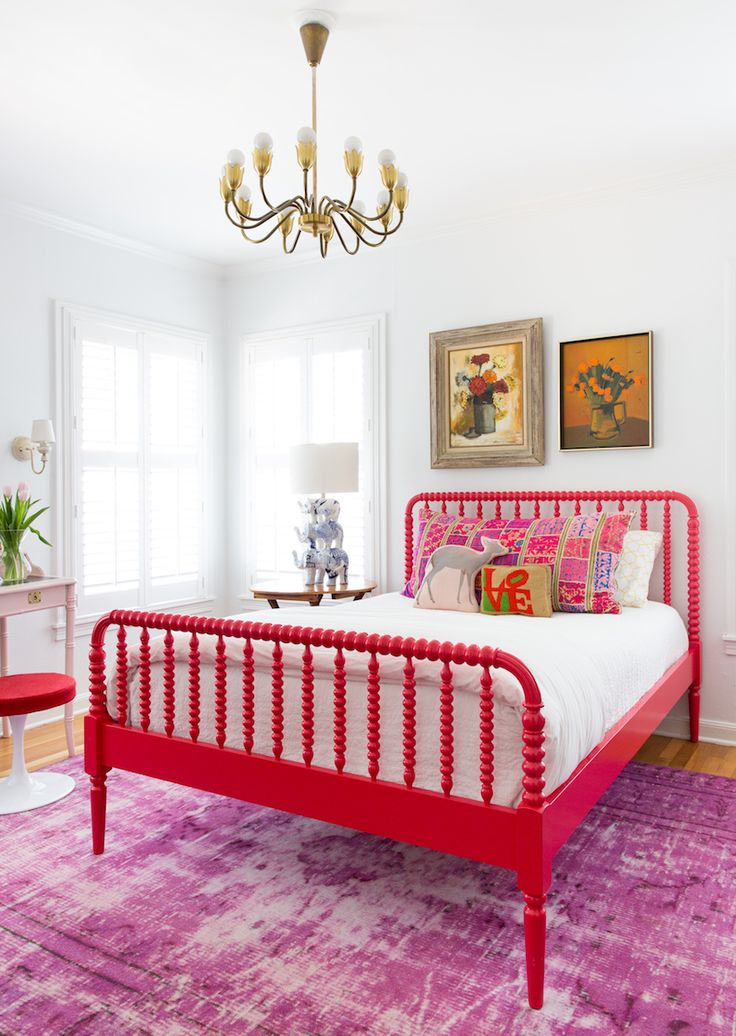 colorful bedroom with hot pink bed and purple antique rug camille styles merrilee
