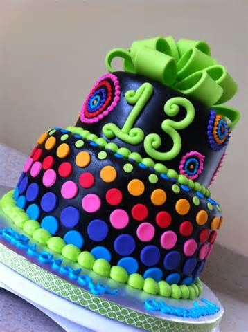 ... and green polka dots 13th birthday cake with a lime green fondant bow