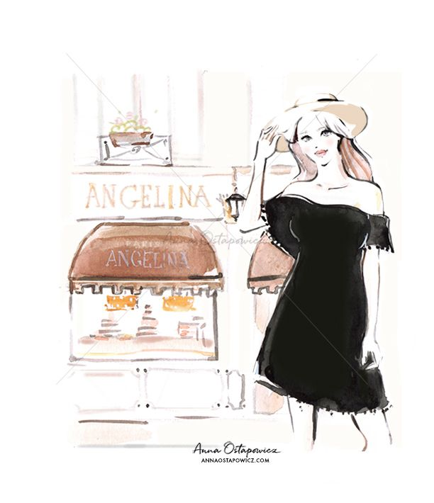 Angelina Paris, Illustration Anna Ostapowicz, #fashionillustration, #editorialillustration, #advertising, #parisian, #butique