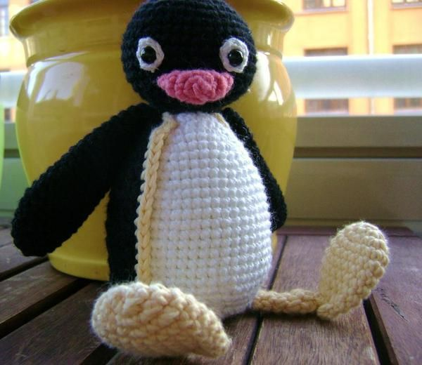 I crocheted Pingu for my son, because he loves the cartoon. #amigurumi