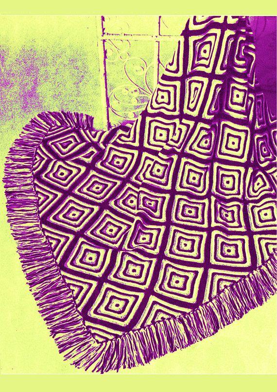 PDF Vintage 1970s Groovy DIAMONDS Afghan Knitting Pattern