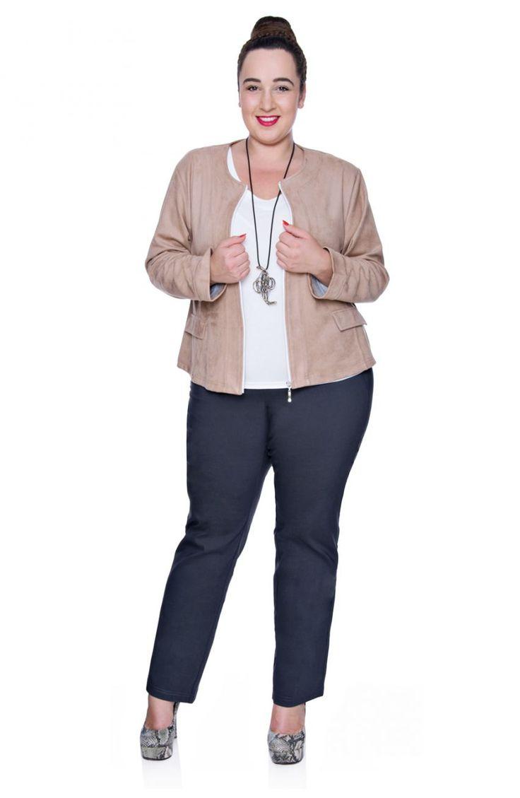 Szare elastyczne spodnie z prostą nogawką - Modne Duże Rozmiary