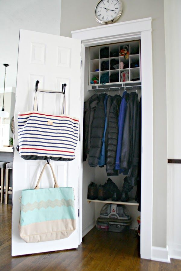Tips for an organized coat closet from Thrifty Decor Chick. I love the simple shoe shelf and that cubby up top.