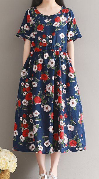 Women loose fit over plus size retro vintage flower dress linen long maxi tunic #Unbranded #dress #Casual