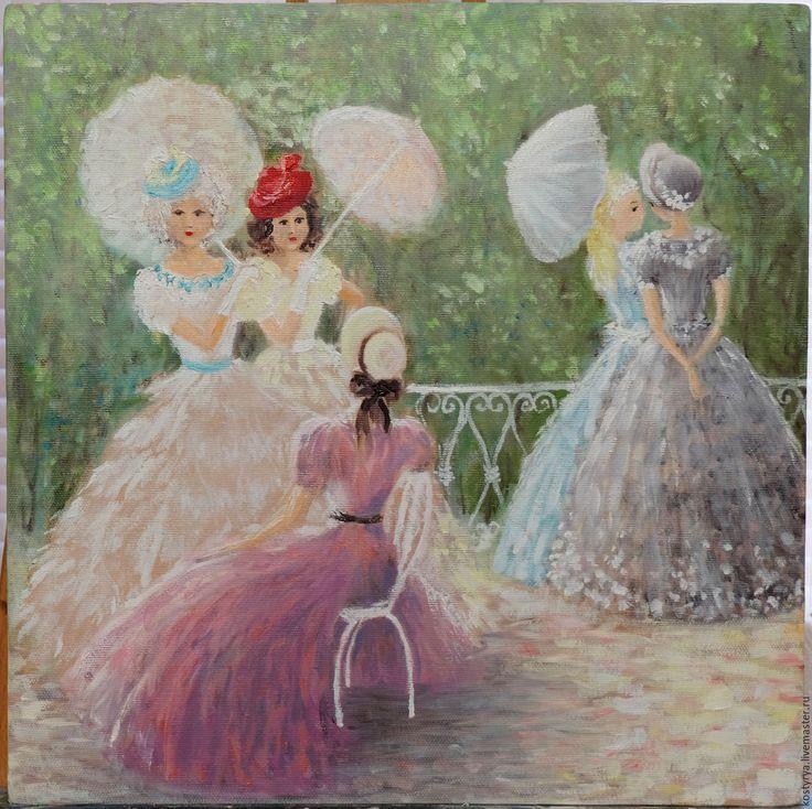 """Купить Картина маслом """"Дамочки - подружки"""" - кремовый, пастельные тона, картина, картина в подарок"""
