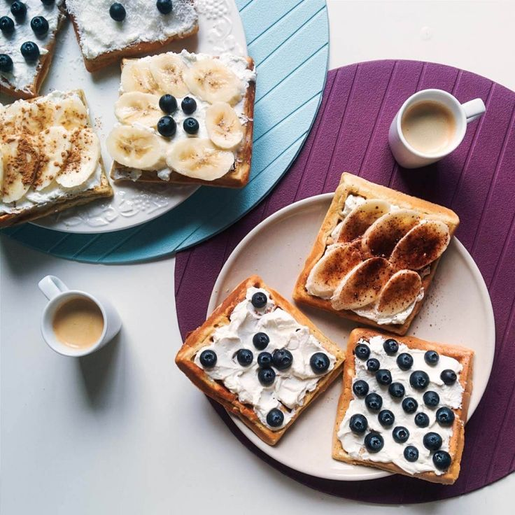 Banana and bluberries waffles with coffee espresso - FoodiesFeed