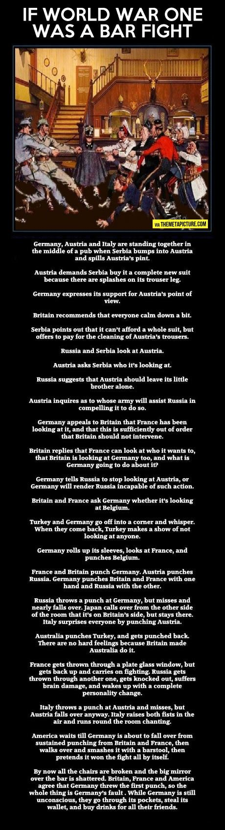 If World War One was a bar fight // this is how we should have studied it in school