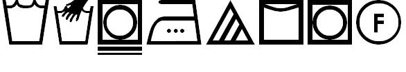 Font with washing machine symbols.
