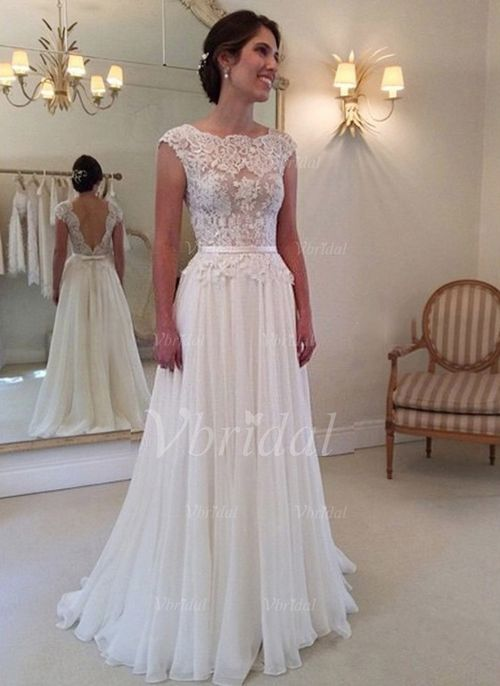 A-Line/Princess Scoop Neck Sweep Train Appliques Lace Chiffon Lace Covered Button Cap Straps Sleeveless Church Beach Hall Garden / Outdoor Reception No Spring Summer Fall Champagne White Wedding Dress