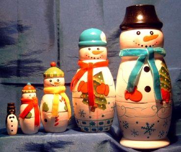 Matrjoschka als Schneemann Matroschka Erzgebirge Weihnachtsshop-Dekoversandhaus