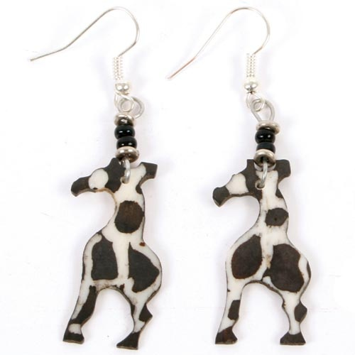£5.00 Recycled bone earrings with giraffe shapes, handmade by Excel Concepts in Kibera Slum, Nairobi, Kenya.  Find out more... http://www.thefairtradestore.co.uk/fair-trade-jewellery/fair-trade-earrings/bone-earrings-with-giraffe-shapes/prod_351.html#  #Fairtrade #WalkAgainstCrime #Slums #Kenya #GiraffeFairtrade Walkagainstcrim