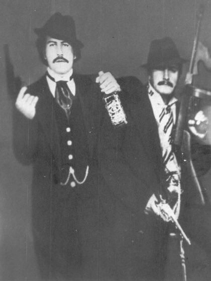 Drug lord Pablo Escobar dressed up as his idol Al Capone at his own Halloween party.