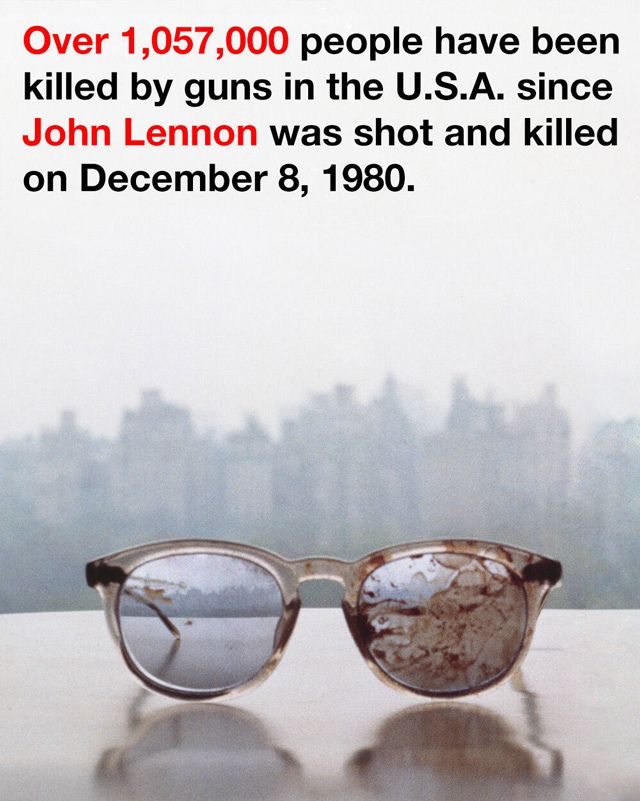 Yoko Ono Denounces Gun Violence with a Photo of the Eyeglasses John Lennon Wore the Night He Was Shot