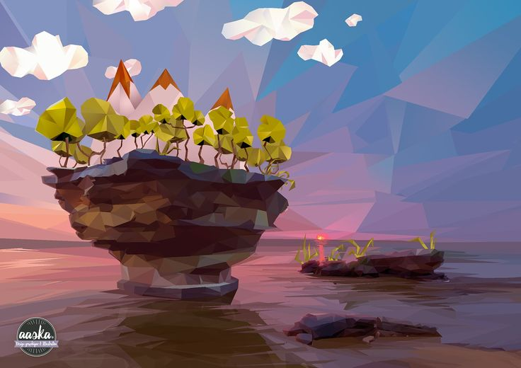 My first low-poly landscape with photoshop ! #aaska  #illustration #lowpoly #3d #photoshop #landscape #island #sea #sky #clouds #rock #geometric #angle #triangle #art #polygonal #polygonalart #sunset #lights #technic #minimalistic #illustrationart