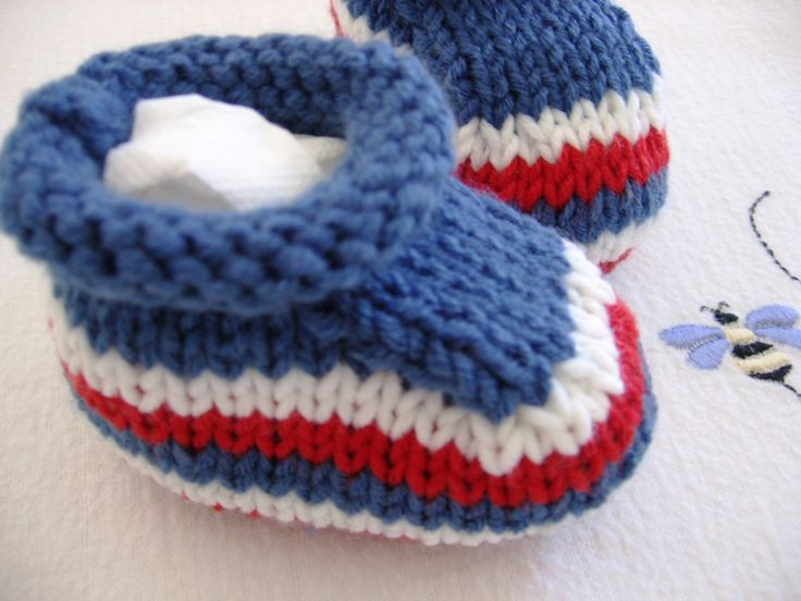 Bootees with a Rollover Cuff Red White and Blue by NoahandNoo