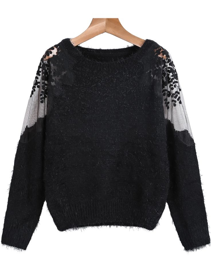 Black Contrast Hollow Lace Long Sleeve Mohair Sweater 23.33