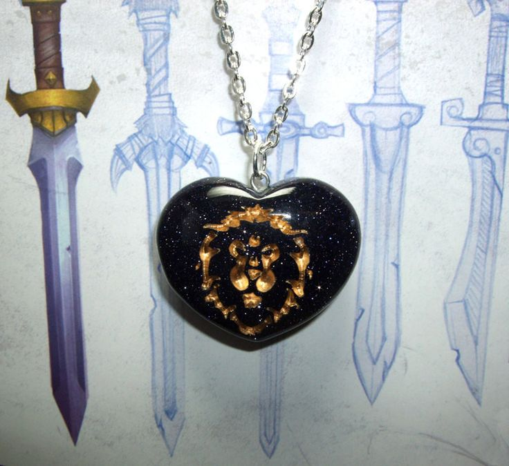 Love of the ALLIANCE World of Warcraft inspired REAL STONE Blue goldstone Heart pendant