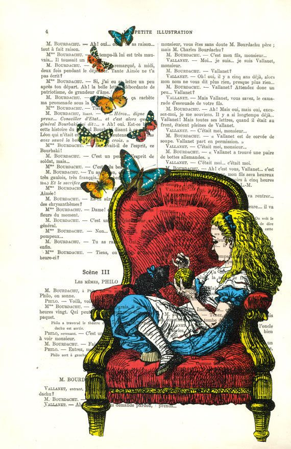 Alice in Wonderland art on a page from the novel.