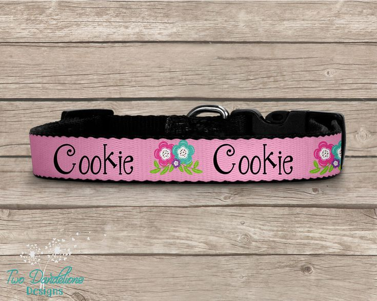 Personalized Dog Collar. 3 sizes available. Matching Pink dog collar, floral dog collar, custom dog collar, custom pet tag, custom dog leash by TwoDandelionsDesigns on Etsy