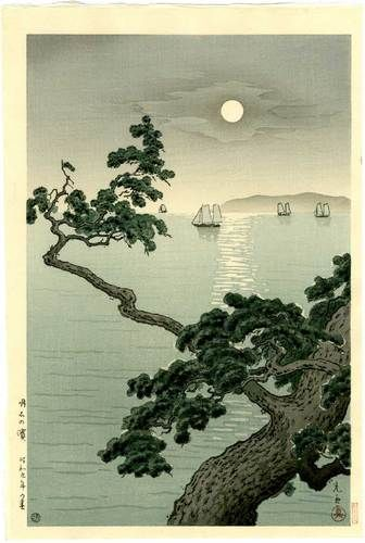 +++KOITSU - Japanese Woodblock Print FULL MOON BEACH 1934