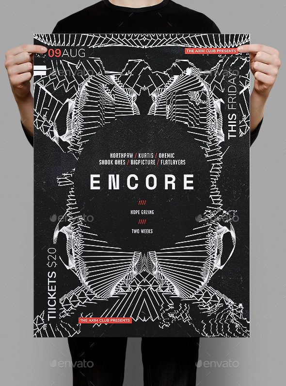 Encore Poster / Flyer Template — Photoshop PSD #live music #nightclub • Download ➝ https://graphicriver.net/item/encore-poster-flyer-template/20473057?ref=pxcr