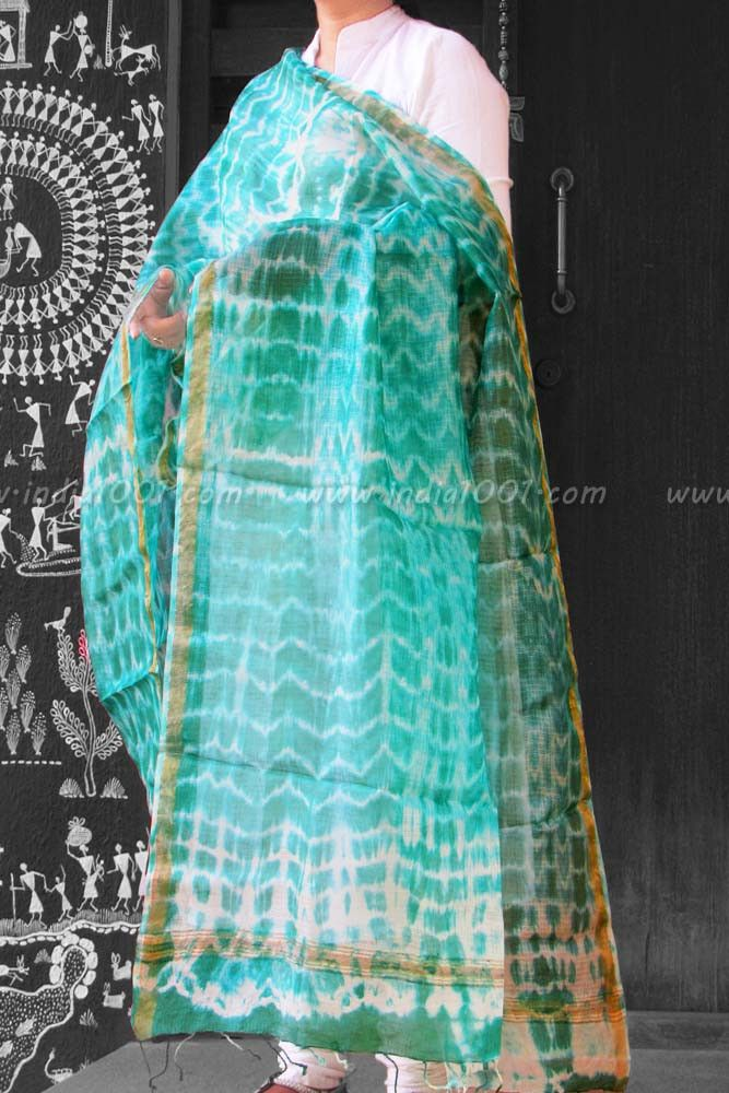 Fine Kota Silk Dupatta with Shibori art | India1001.com