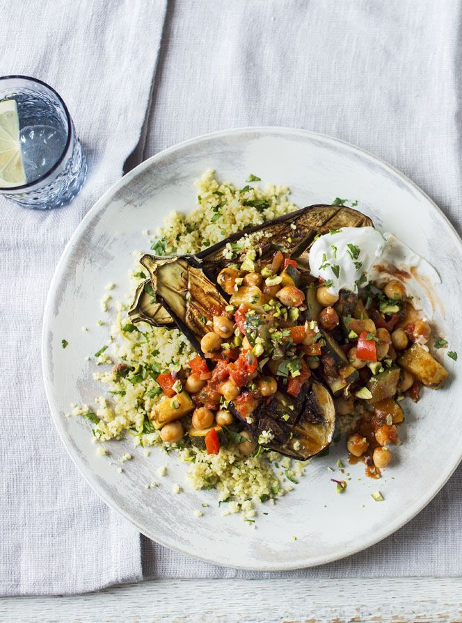 Roasted aubergines paired with couscous and chickpeas to make a vegetarian high-protein low-GI dish