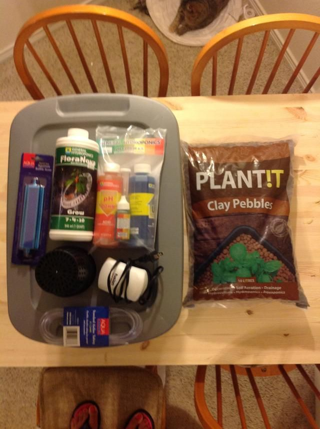 Gather supplies at local store. A gardening or hydroponics store will have this stuff. Cost is around $20-$35.