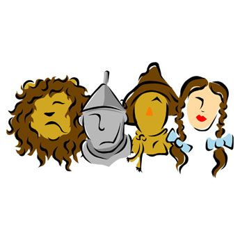Stylized Illustration of Wizard of Oz Characters, Use to teach archtype characters
