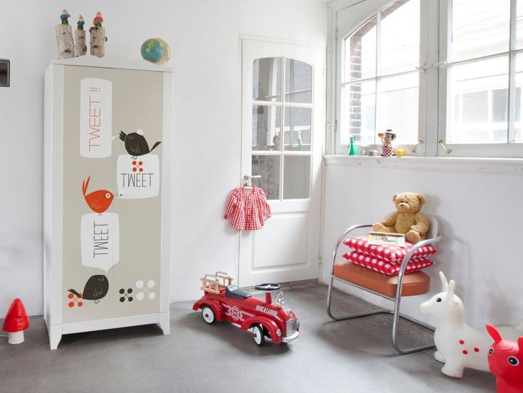 Even a room with plain white walls can get a little dazzle from decals. These adhesives are made to stick to standard Ikea furniture, so even if everyone has the same chest of drawers, it looks custom. The cute bird design makes this wardrobe a bit more kid-friendly. Photo courtesy of Mykea